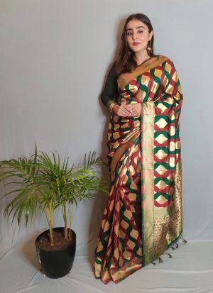 Multi Color Weaving Work Wedding Saree