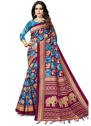 Multi Color Women Wedding And Partywear Art Silk Saree