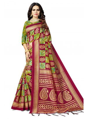 Multi Colour South Indian Wedding Art Silk Saree
