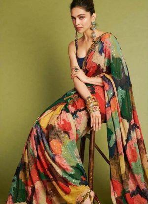 Multi Georgette Digital Printed Bollywood Style Saree