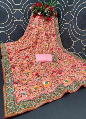 Multi Thread Work Peach Color Saree