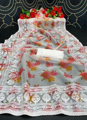 Multi Thread Work White Saree