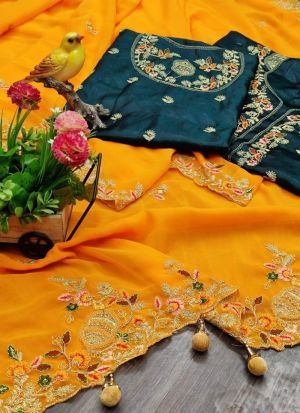 Mustard Yellow Faux Georgette Saree With Latkan