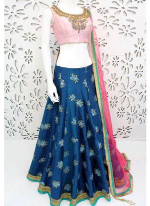 Navratri Festive Special Blue Embroidered Designer Lehenga Choli