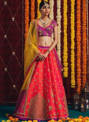 Navratri Special Designer Orange Heavy Embroidery Lehenga Choli with Dupatta