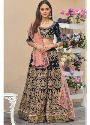 Navy 9000 Velvet Designer Wedding Lehenga Choli