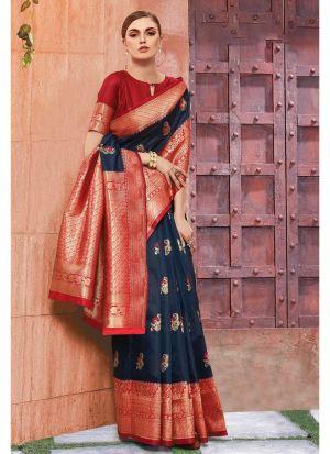 Navy Banarasi Crystal Silk Designer Traditional Saree For Wedding