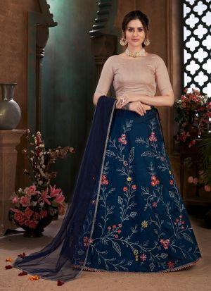 Navy Blue Art Silk Lehenga Choli