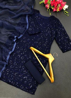 Navy Blue Georgette Sequence Salwar Suit