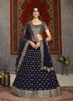Navy Blue Net Wedding Lehenga Choli