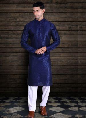 Navy Blue Pure Art Silk Kurta Pajama