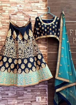 Navy Blue Taffeta Silk Embroidery Lehenga