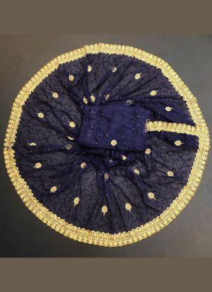 Navy Blue Zari Embroidery Saree