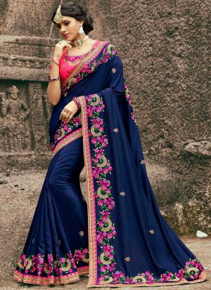 Navy Color Designer Saree In Moss Chiffon Fabric
