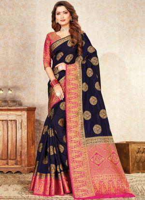 Navy Color South Indian Naylon Silk Saree