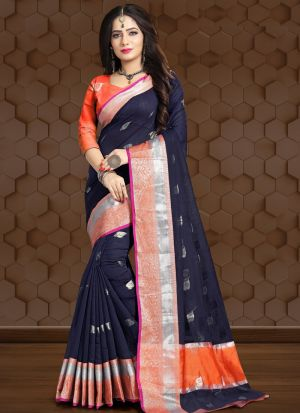 Navy Color Traditional Wear Saree In Linen Fabric