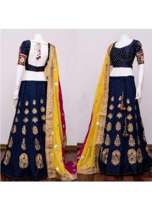 Navy Heavy Embroidery Chennai Silk Fabric Festival Anarkali Lehenga With Bridal Net Dupatta