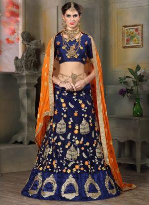 Navy Net Indian Wedding Lehenga Choli