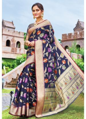 Navy Pure Silk Designer Sarees For Wedding