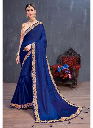 Navy Silk Coding Lace Work Party Wear Designer Saree
