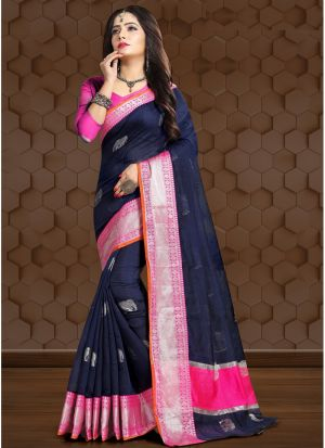 Navy Traditional Wear Saree In Linen Fabric