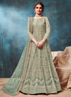 Net Aqua Admire Anarkali Style Suit