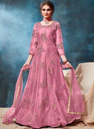 Net Baby Pink Admire Floor Length Salwar Suit