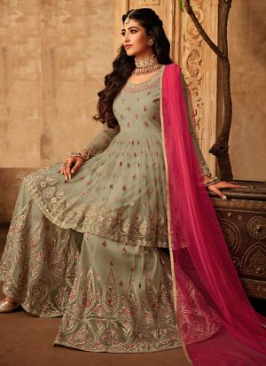 Net Embroidered Occasionally Wear Salwar Suit
