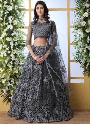 Net Grey New Arrivals Lehenga Choli Collection