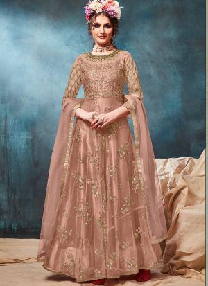 Net Light Brown Party Wear Floor Length Anarkali Suit