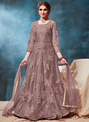 Net Rosy Brown Party Wear Floor Length Anarkali Suit