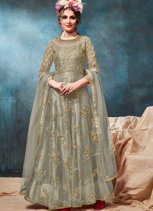 Net Sage Color Admire Floor Length Anarkali Suit