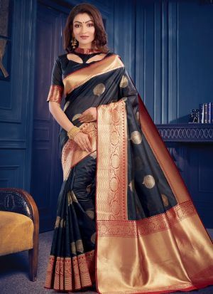 New Arrival Black Fancy Wear Zari Work Saree