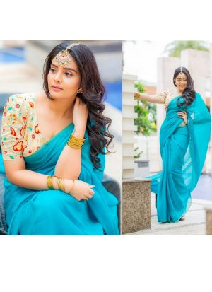 New Arrival Georgette Sky Blue Womens Saree
