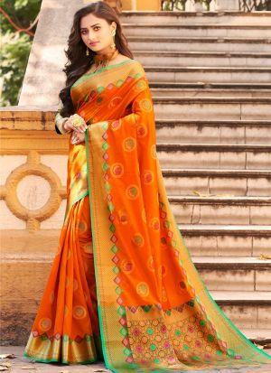 New Arrival Orange Fancy Wear Thread Work Saree