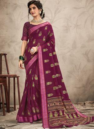 New Arrival Purple Fancy Wear Digital Printed Saree
