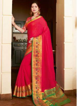 New Arrival Red Fancy Wear Thread Work Saree