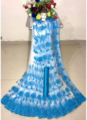 New Arrival Soft Net Sky Blue Designer Saree