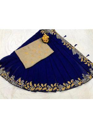 New Arrival Vichitra Silk Blue Party Wear Designer Saree