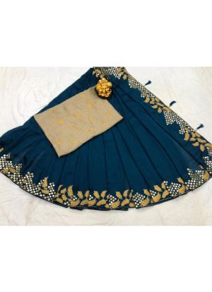 New Arrival Vichitra Silk Teal Blue Party Wear Designer Saree