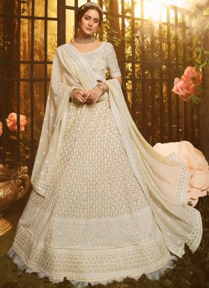 New Arrival White Georgette Zari Work Ruffle Lehenga Choli