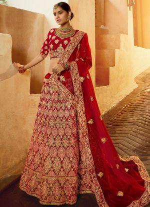 New Bridal Wear Red Color Pure Velvet Lehenga Choli