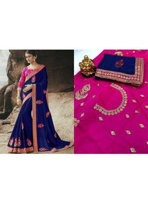 New Collection Rangoli Navy Designer Saree
