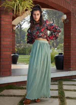 New Fashion Pista Green Skirt With Printed Top