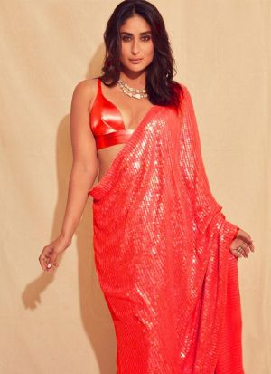 New Launching Superhit Designer Bamberg Georgette Red Color Bollywood Celebrity Saree