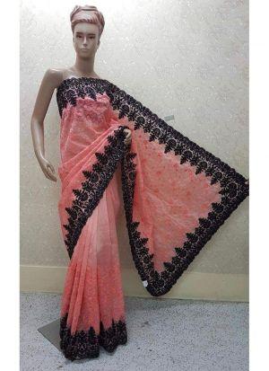 New Launching Superhit Designer Heavy Net Peach Saree