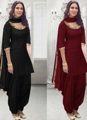 New Maroon Zari Embroidery Patiala Style Salwar Suit