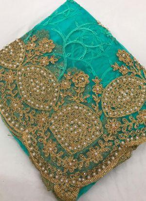 New Party Wear Rama Color Moti Work Saree