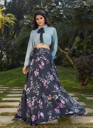 New Style Black Crepe Silk Skirt