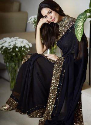 Newer Black Georgette Embroidery Saree